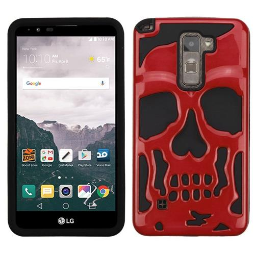 Insten Skullcap Hard Dual Layer Silicone Cover Case For LG Stylo 2 Plus - Red/Black