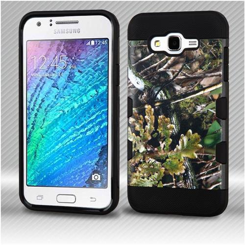 Insten English Oak Hard TPU Cover Case For Samsung Galaxy J7 (2015) - Green/Black