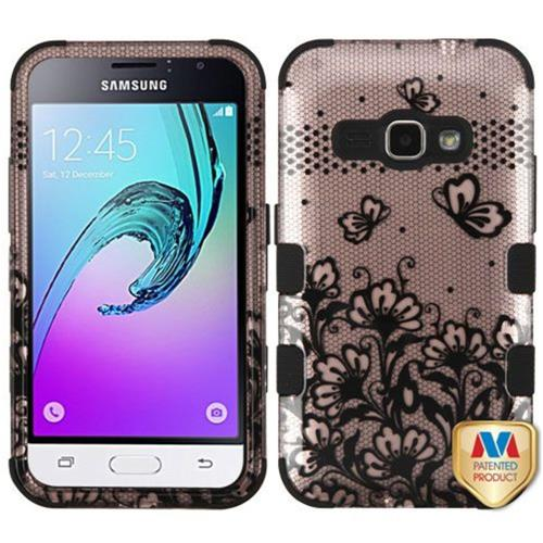 Insten Lace Flowers Hard Hybrid Rubber Case For Samsung Galaxy Amp 2/J1 (2016), Rose Gold/Black