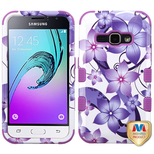 Insten Hibiscus Flower Romance Hard Hybrid Case For Samsung Galaxy Amp 2/J1 (2016), Purple/White
