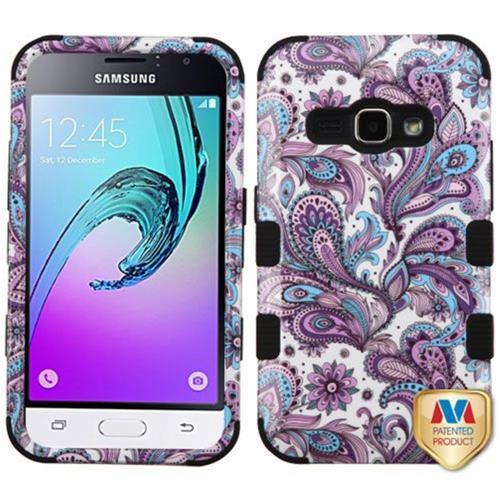 Insten European Flowers Hard Silicone Case For Samsung Galaxy Amp 2/J1 (2016), Purple/White