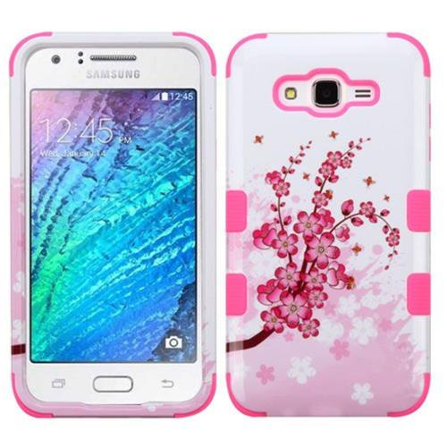 Insten Spring Flowers Hard Dual Layer Silicone Cover Case For Samsung Galaxy J7 (2015), Pink/White