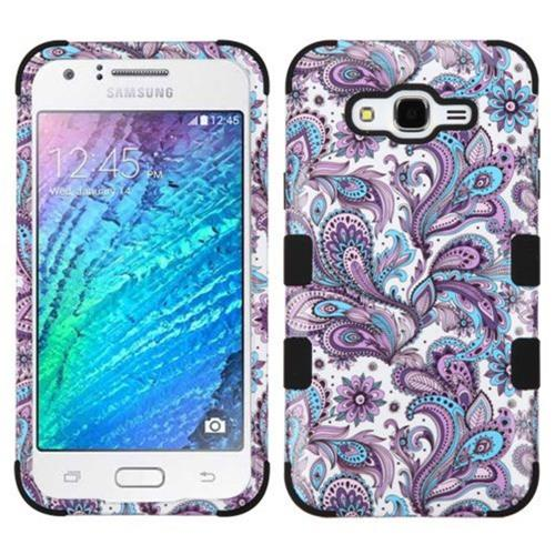 Insten European Flowers Hard Hybrid Silicone Cover Case For Samsung Galaxy J7 (2015), Purple/White