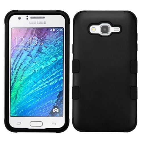 Insten Tuff Hard Hybrid Rubber Coated Silicone Case For Samsung Galaxy J7 (2015) - Black