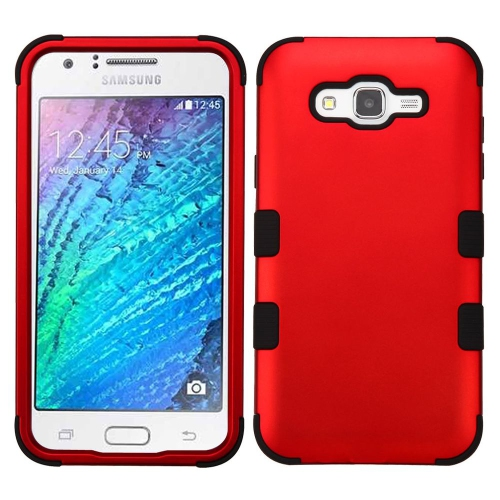 Insten Tuff Hard Dual Layer Silicone Case For Samsung Galaxy J7 (2015) - Red/Black