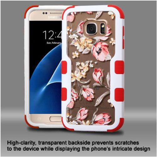 Insten Flowers Hard Dual Layer Rubber Coated Silicone Case For Samsung Galaxy S7 - Pink/White