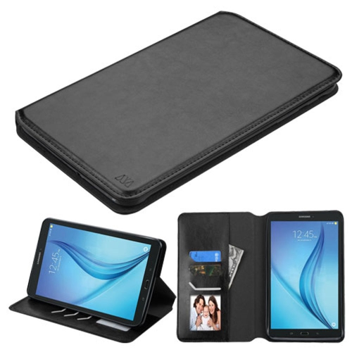 Insten Flip Leather Fabric Case w/stand/card slot For Samsung Galaxy Tab E 8 - Black