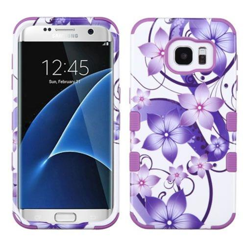 Insten Hibiscus Flower Romance Hard Hybrid Silicone Case For Samsung Galaxy S7 Edge, Purple/White