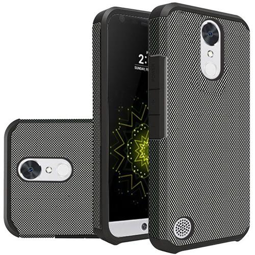 Insten Carbon Fiber Hard Rubber Silicone Case For LG Grace 4G/Harmony/K20 Plus/K20 V, Black