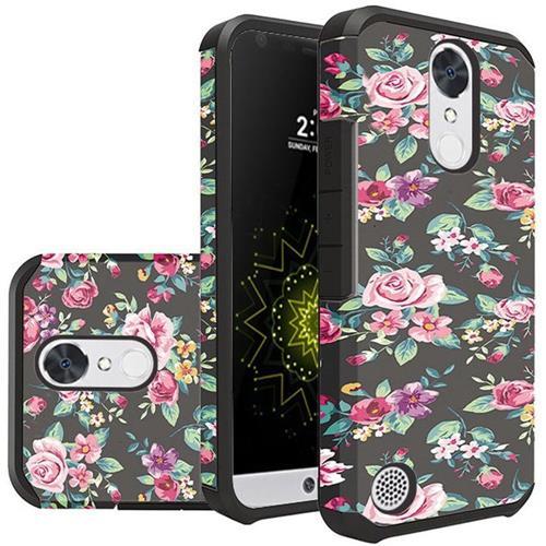 Insten Colorful Roses Floral Hybrid Case For LG Grace 4G/Harmony/K20 Plus/K20 V, Black/Pink