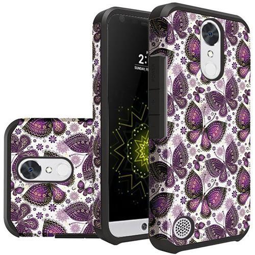 Insten Butterflies Hard Rubber Coated Case For LG Grace 4G/Harmony/K20 Plus/K20 V, White/Purple
