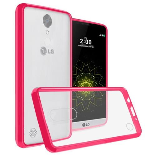 Insten Hard Crystal TPU Cover Case For LG Grace 4G/Harmony/K20 Plus/K20 V, Clear/Hot Pink
