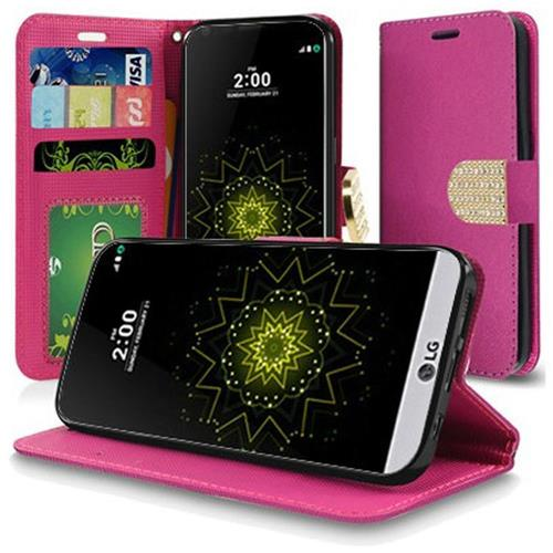 Insten Leather Fabric Case w/stand/Diamond For LG Grace 4G/Harmony/K20 Plus/K20 V, Hot Pink