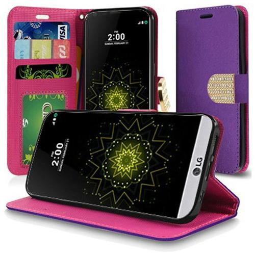 Insten Flip Leather Fabric Case w/stand/Diamond For LG Grace 4G/Harmony/K20 Plus/K20 V, Purple