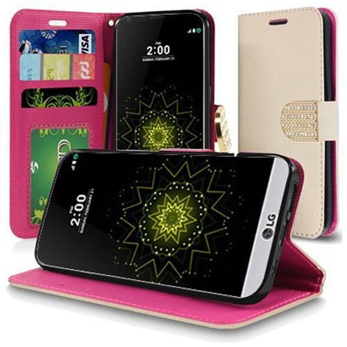 Insten Leather Fabric Case w/stand/Diamond For LG Grace 4G/Harmony/K20 Plus/K20 V, Rose Gold
