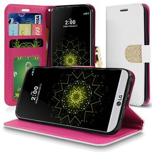 Insten Flip Leather Fabric Case w/stand For LG Grace 4G/Harmony/K20 Plus/K20 V, White/Hot Pink