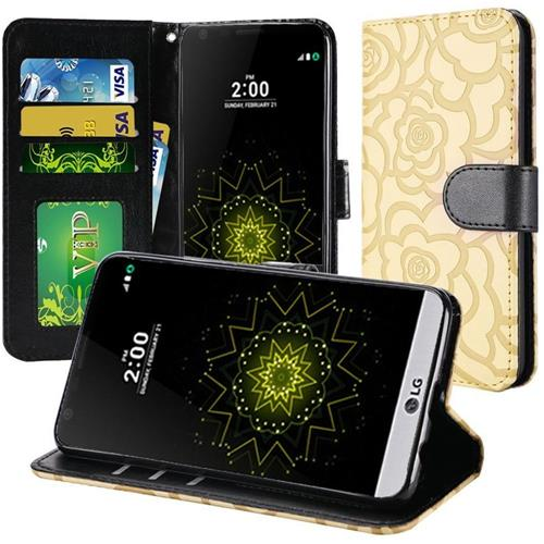 Insten Roses Flip Leather Fabric Case For LG Grace 4G/Harmony/K20 Plus/K20 V, Light Brown/Black