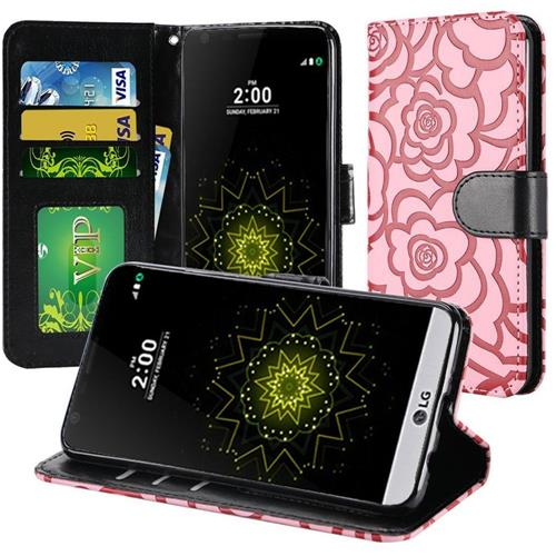 Insten Roses Flip Leather Fabric Case w/stand For LG Grace 4G/Harmony/K20 Plus/K20 V, Pink/Black
