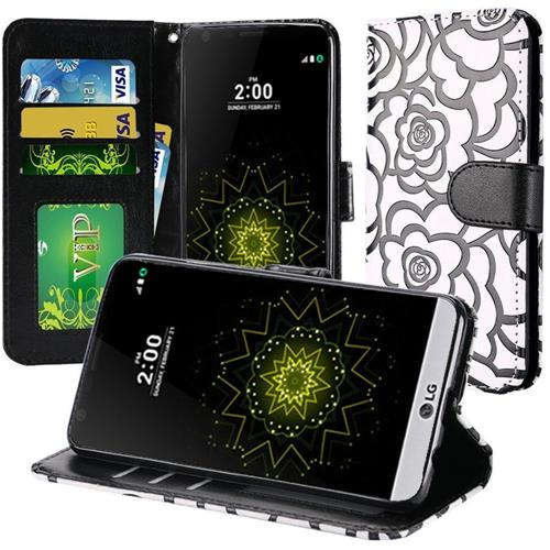 Insten Roses Leather Fabric Case w/stand For LG Grace 4G/Harmony/K20 Plus/K20 V, White/Black