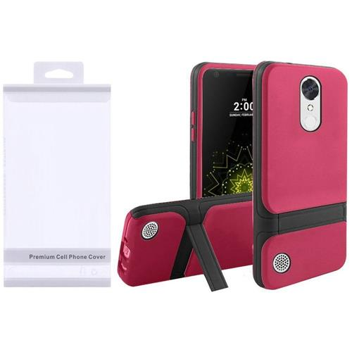 Insten Hard Dual Layer TPU Case w/stand For LG Grace 4G/Harmony/K20 Plus/K20 V, Hot Pink/Black