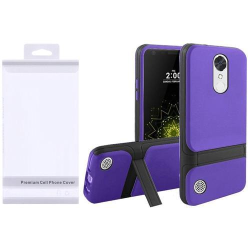 Insten Hard Hybrid TPU Cover Case w/stand For LG Grace 4G/Harmony/K20 Plus/K20 V, Purple/Black