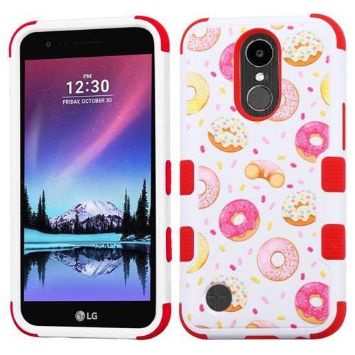 Insten Donuts Hard Rubberized Silicone Cover Case For LG Harmony/K10 (2017)/K20 Plus, White/Pink