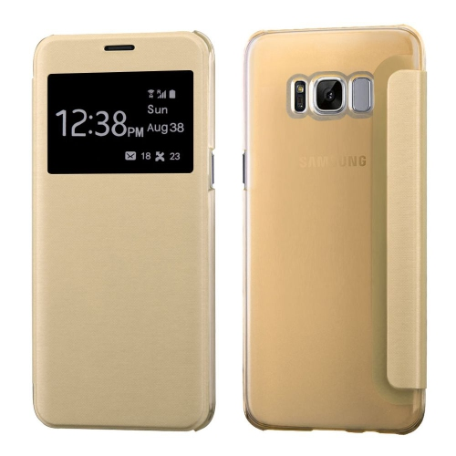 Insten Book-Style Leather Fabric Cover Case For Samsung Galaxy S8 - Gold