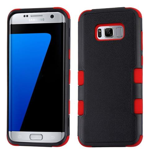 Insten Tuff Hard Dual Layer Rubber Silicone Cover Case For Samsung Galaxy S8 Plus - Black/Red