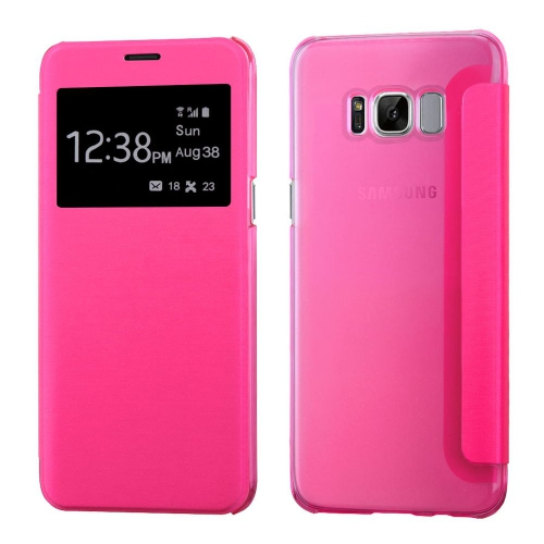 Insten Book-Style Leather Fabric Case For Samsung Galaxy S8 Plus - Hot Pink