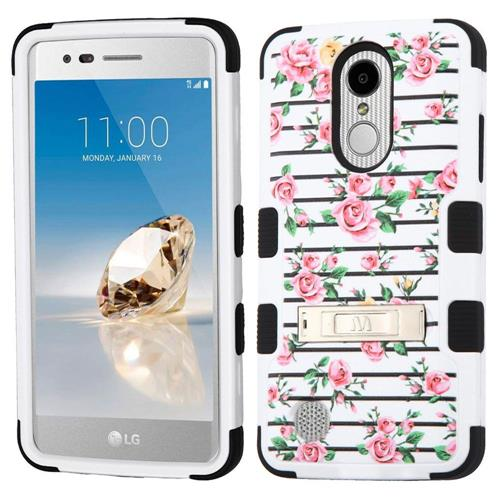 Insten For LG Aristo/Fortune/K4(2017)/K8(2017)/Phoenix 3 White Fresh Roses Hybrid Case