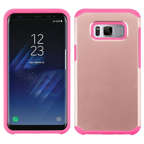 Insten Hard Dual Layer Silicone Case For Samsung Galaxy S8 - Rose Gold/Hot Pink