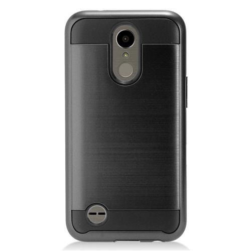 Insten Chrome Dual Layer Brushed Hard Cover Case For LG K10 (2017)/K20 Plus/K20 V - Black