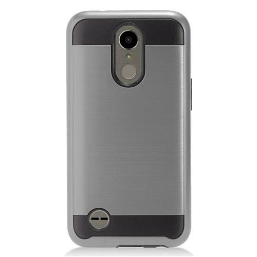Insten Chrome Dual Layer Brushed Hard Case For LG K10 (2017)/K20 Plus/K20 V - Gray/Black