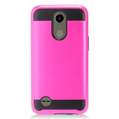 Insten Chrome Dual Layer Brushed Hard Case For LG K10 (2017)/K20 Plus/K20 V - Hot Pink/Black