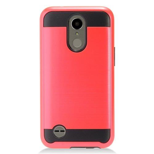 Insten Chrome Hybrid Brushed Hard Cover Case For LG K10 (2017)/K20 Plus/K20 V - Red/Black