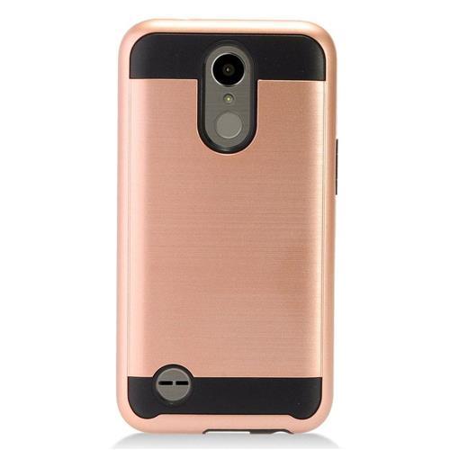 Insten Chrome Hybrid Brushed Hard Cover Case For LG K10 (2017)/K20 Plus/K20 V - Rose Gold/Black