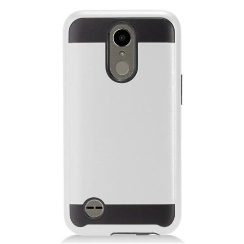 Insten Chrome Hybrid Brushed Hard Cover Case For LG K10 (2017)/K20 Plus/K20 V - Silver/Black