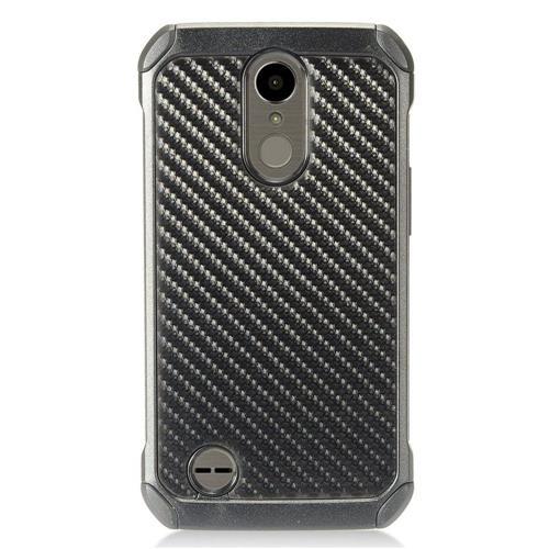 Insten Carbon Fiber Hard Hybrid TPU Case For LG K10 (2017)/K20 Plus/K20 V - Black