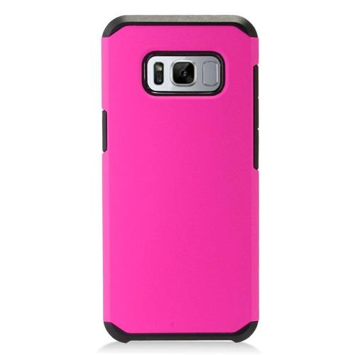 Insten Fitted Soft Shell Case for Samsung Galaxy S8 - Hot Pink;Black