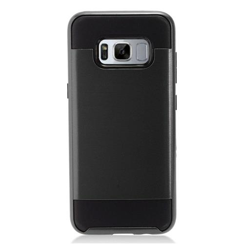 Insten Chrome Dual Layer Brushed Hard Case For Samsung Galaxy S8 - Black