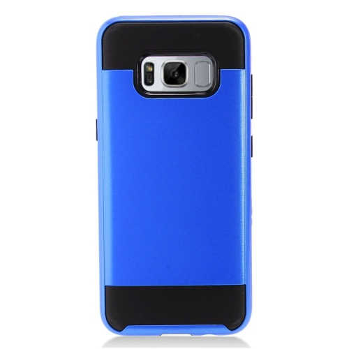 Insten Chrome Hybrid Brushed Hard Case For Samsung Galaxy S8 - Blue/Black