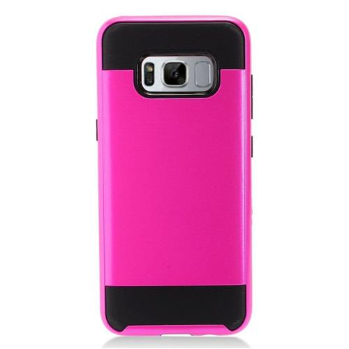 Insten Chrome Hybrid Brushed Hard Case For Samsung Galaxy S8 - Hot Pink/Black