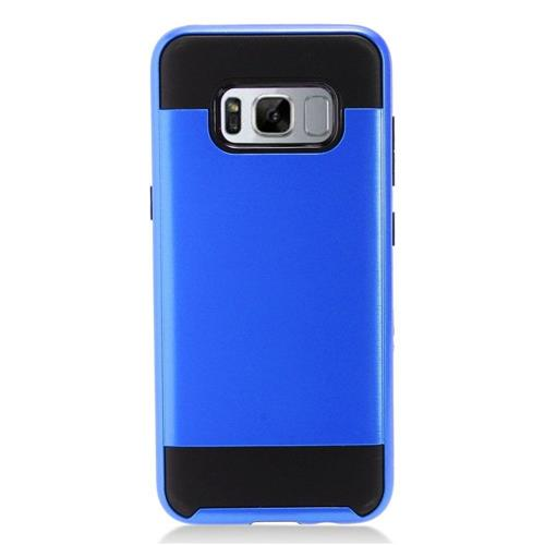 Insten Chrome Hybrid Brushed Hard Cover Case For Samsung Galaxy S8 Plus - Blue/Black