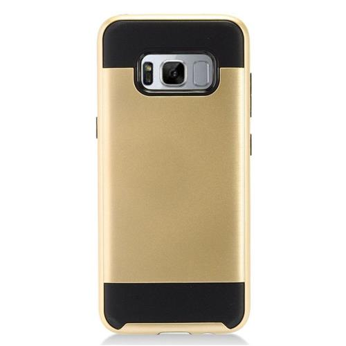 Insten Chrome Dual Layer Brushed Hard Case For Samsung Galaxy S8 Plus - Gold/Black