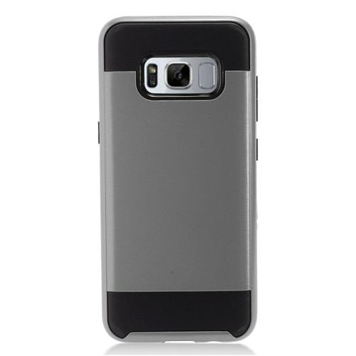 Insten Chrome Dual Layer Brushed Hard Cover Case For Samsung Galaxy S8 Plus - Gray/Black
