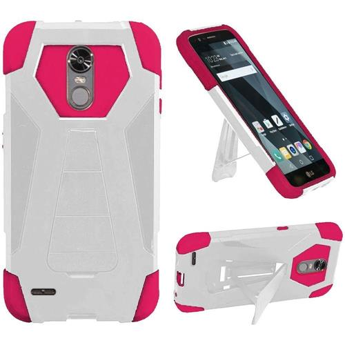 Insten Hard Dual Layer Plastic Silicone Case w/stand For LG Stylo 3/Stylo 3 Plus - White/Hot Pink
