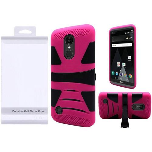 Insten Hard Hybrid Silicone Case w/stand For LG Aristo/K8 (2017), Black/Hot Pink