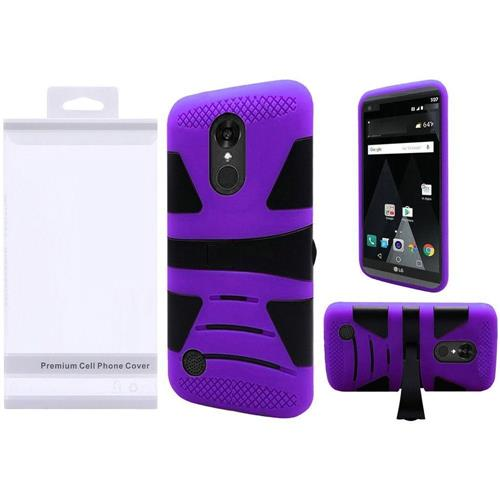 Insten Hard Dual Layer Rubberized Silicone Case w/stand For LG Aristo/K8 (2017), Black/Purple