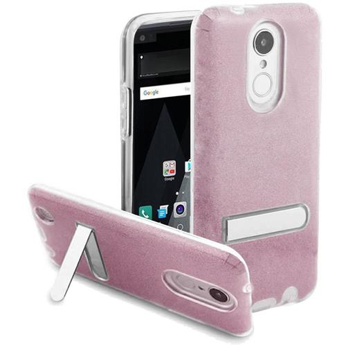Insten Hard Dual Layer Glitter TPU Cover Case w/stand For LG Aristo/K8 (2017), Hot Pink