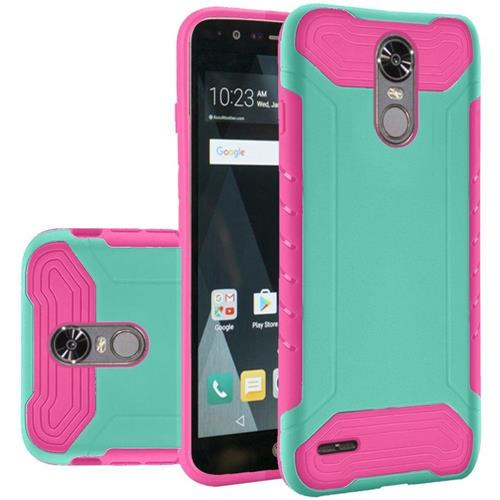 Insten Hard Hybrid Rubber Silicone Cover Case For LG Stylo 3/Stylo 3 Plus - Teal/Hot Pink
